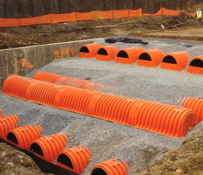 Triple stack stormwater chamber.