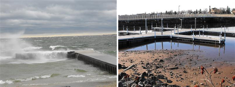 During high water conditions and/or periods of greater storm intensities, structures may become completely unusable. Without dredging, low water conditions may make docks unusable. (Source: Gene Clark/UW Sea Grant)