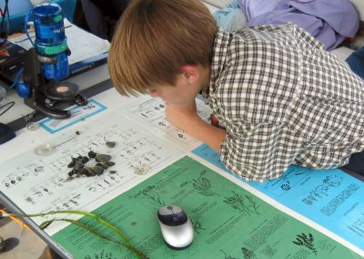 A student looks at samples from the lake and compares it to a poster for I.D.