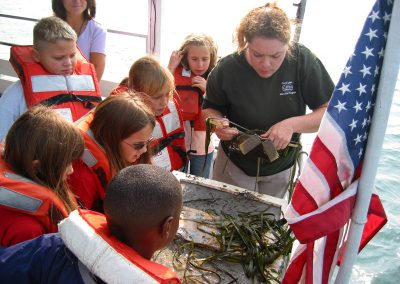 A group of students look at aquatic plants brought up from the lake