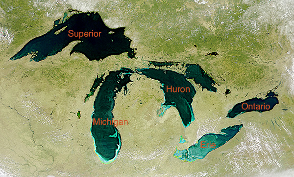Great Lakes satellite Image