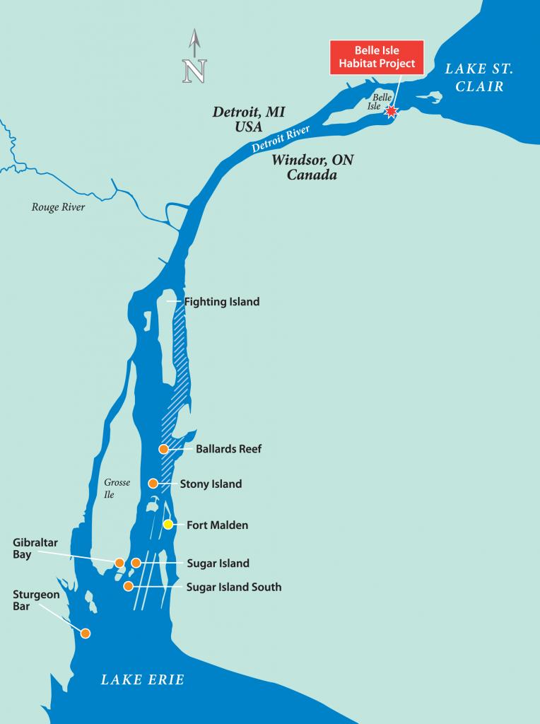 Belle Isle Reef Restoration Habitat Project, Detroit River map