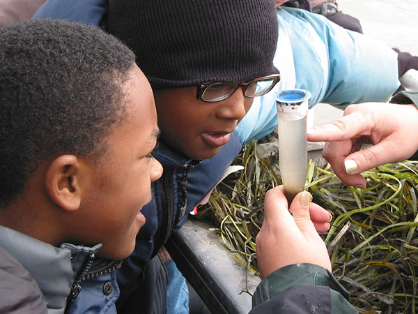 two kids looking at a water sample