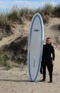 surfer standing with surf board