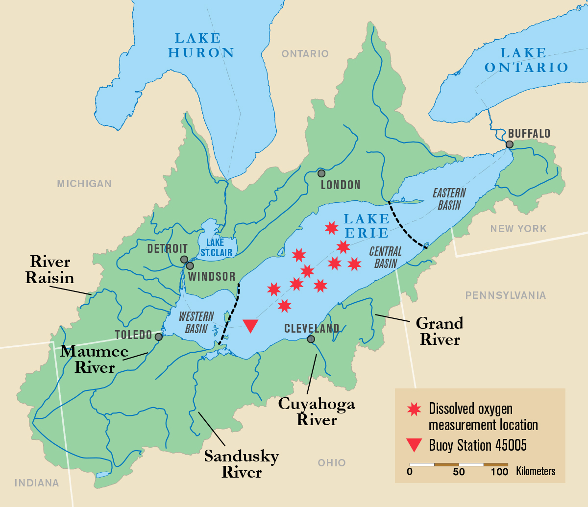 great lakes basin map xrev. scientists point to key factors of lake erie dead zone  michigan