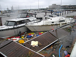 Hurricane Sandy damage at a Lake Erie marina. (Source: ODNR, Office of Coastal Management.)