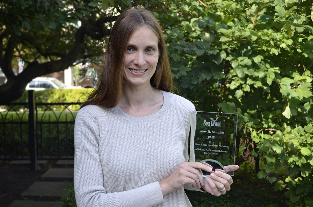 The Great Lakes Sea Grant Network recognized Amy Samples, Michigan Sea Grant coastal resilience specialist, for her contributions to coastal communities.