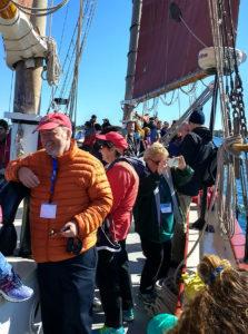 Sea Grant communicators aboard the schooner Aurora. Photo: Michigan Sea Grant