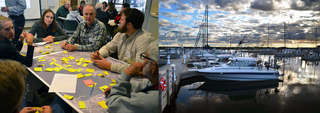 Left: The community discusses waterfront issues during the St. Ignace public meeting in October. Right: Rogers City Marina.