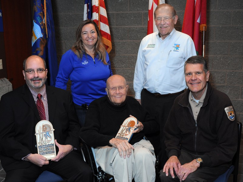 Michigan Sea Grant representatives Steve Stewart and Mary Bohling with John D. Dingell, Jr., IWRA Chairman Richard Micka, and Refuge Manager John Hartig.