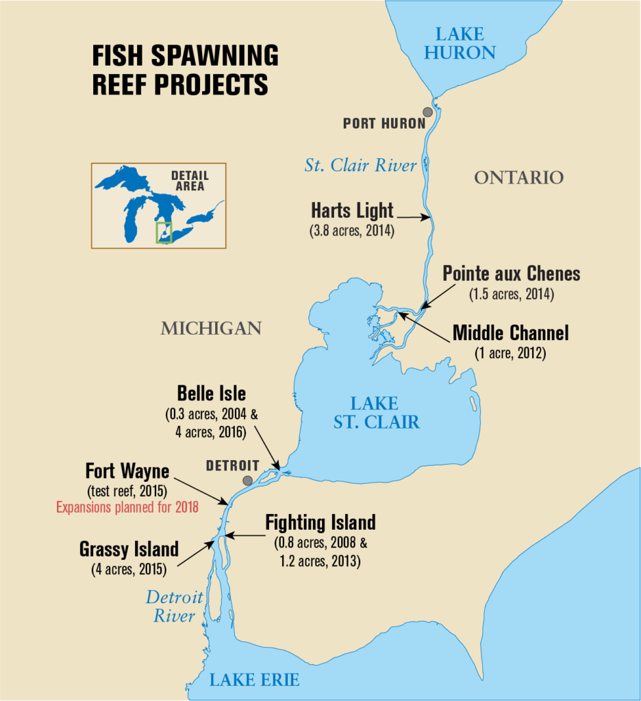 A map of the fish spawning reef projects in the Detroit River.