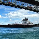 freighter under the blue water bridge