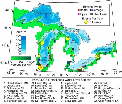 Map of meteotsunamis reported in the Great Lakes. Image from Scientific Reports 6, Article number: 37832 (2016), used with permission.