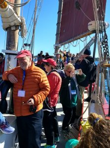Sea Grant communicators aboard the schooner Aurora. Photo: Michigan Sea Grant