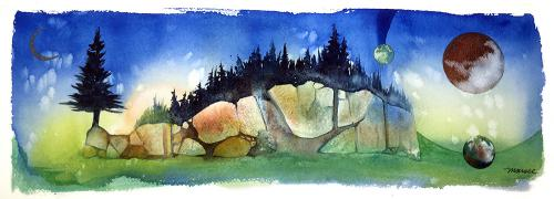 Artwork by Todd Marsee a watercolor landscape inspired by Pictured Rocks National Lakeshore.
