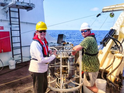 June Tiesas (left) is on deck the Oregon II during her Teacher at Sea program with NOAA.
