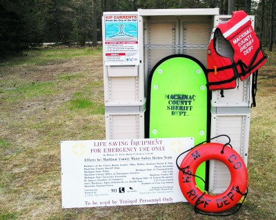 Water rescue safety stations have been installed on beaches in northern Lake Michigan. Photo: Ron Kinnunen | Michigan Sea Grant