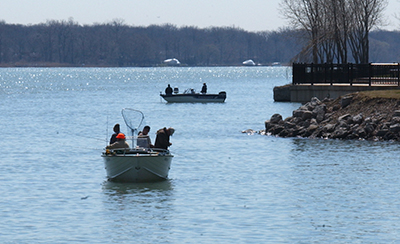 Photo by Dave Brenner/Michigan Sea Grant Anglers on the Detroit river in spring