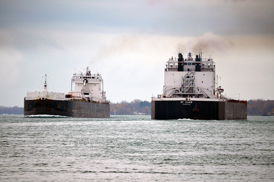 2 ships on the st. clair river
