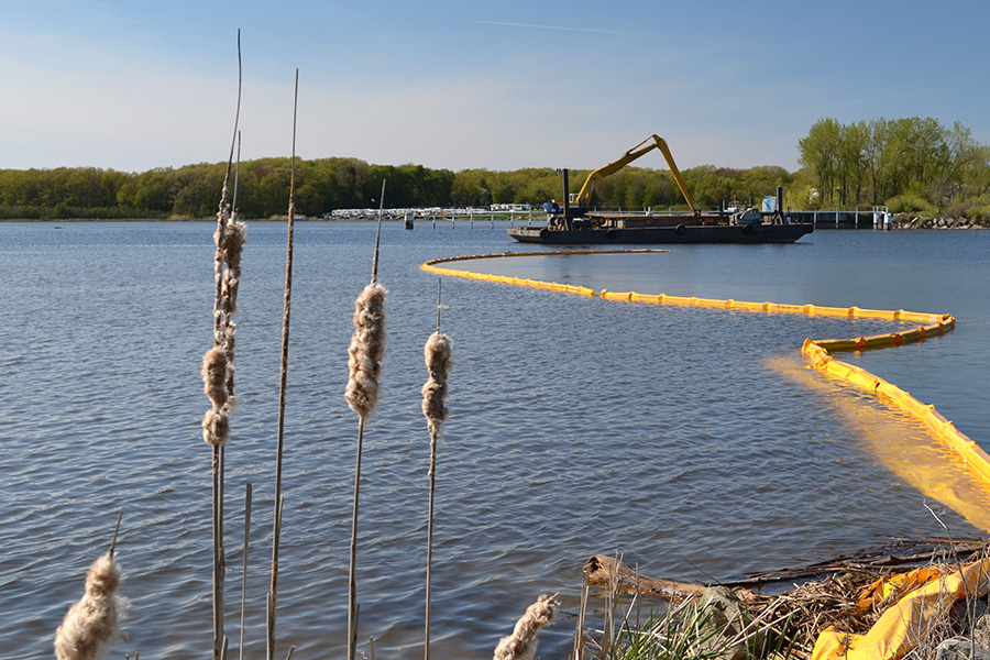 Dredging the Grand River in Grand Haven, Michigan