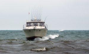 Charter fishing boat on Lake Michigan