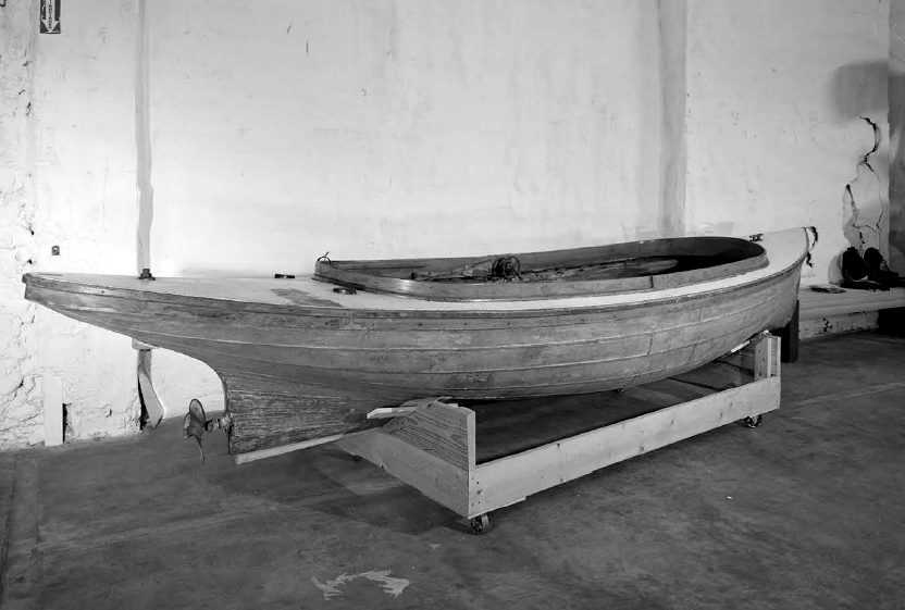 Metal Fantail Launch, wooden boat