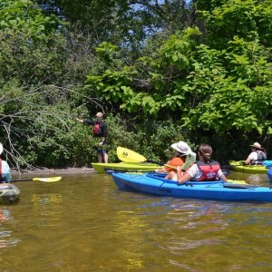 Paddlers learn about aquatic invasive species while out on the water