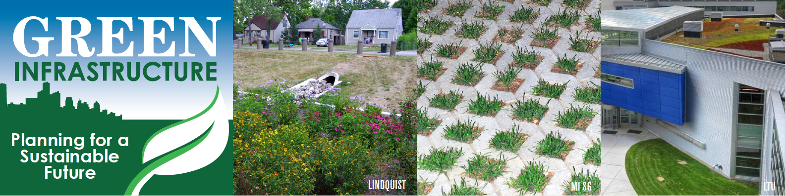 Green Infrastructure images, green roof, permeable pavement and a rain barrel