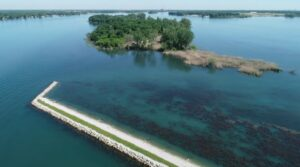 Celeron Island was completed in 2020. The project has added nearly 4,000 linear feet of shoals with a sand bar for nesting turtles, snake hibernacula, and common tern nesting areas. The shoals also protect over 100 acres of coastal wetlands with additional spawning habitat to encourage a robust fish population.