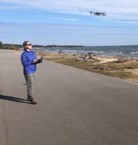 flying a drone on the lakeshore