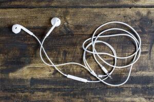 headphones on a wood floor