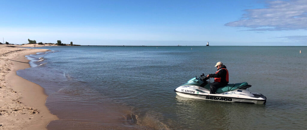 a jet ski to rapidly measure changes in the underwater portions of the beach.